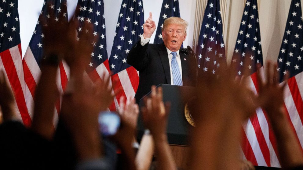 President Donald Trump speaks during a news conference at the Lotte New York Palace hotel during the United Nations General Assembly, Sept. 26, 2018, in New York.