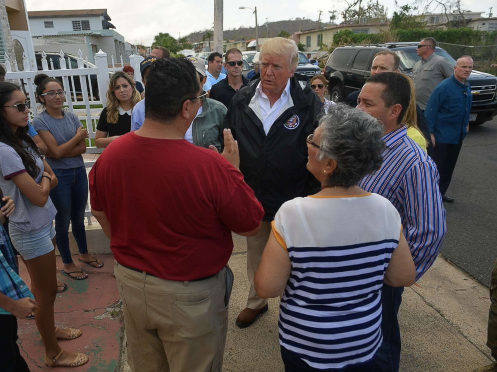 PHOTO: President Donald Trump and First Lady Melania Trump visit residents affected by Hurricane Maria in Guaynabo, west of San Juan, Puerto Rico, Oct. 3, 2017.