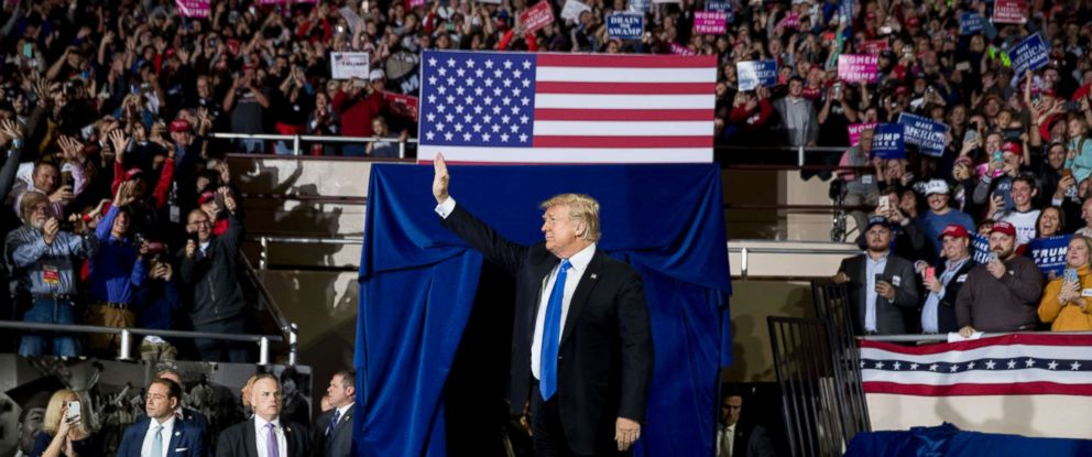 PHOTO: President Donald Trump takes the stage at a rally at Alumni Coliseum in Richmond, Ky., Oct. 13, 2018.