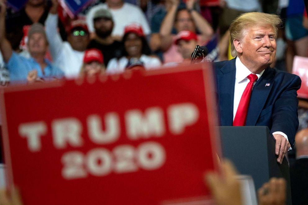 PHOTO: President Donald Trump speaks during his 2020 re-election bid announcement in Orlando, Fla., June 18, 2019.