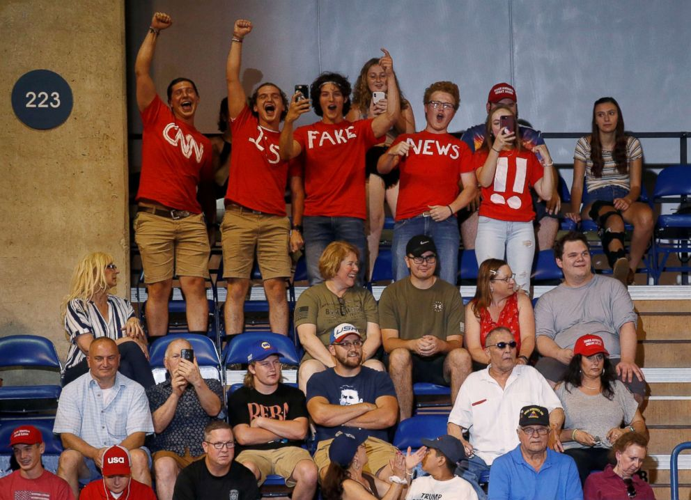 PHOTO: Supporters of President Donald Trump cheer before his Make America Great Again rally in Wilkes-Barre, Pa., Aug. 2, 2018.
