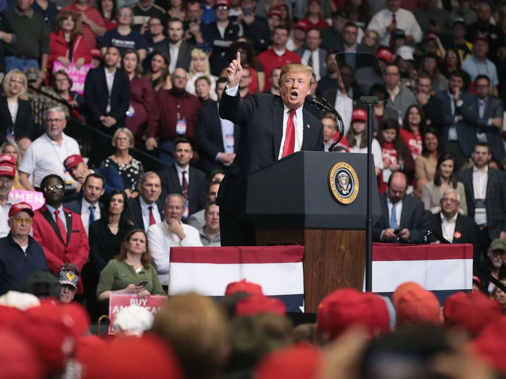 PHOTO: President Donald Trump speaks to supporters during a rally at the Van Andel Arena on March 28, 2019, in Grand Rapids, Mich.