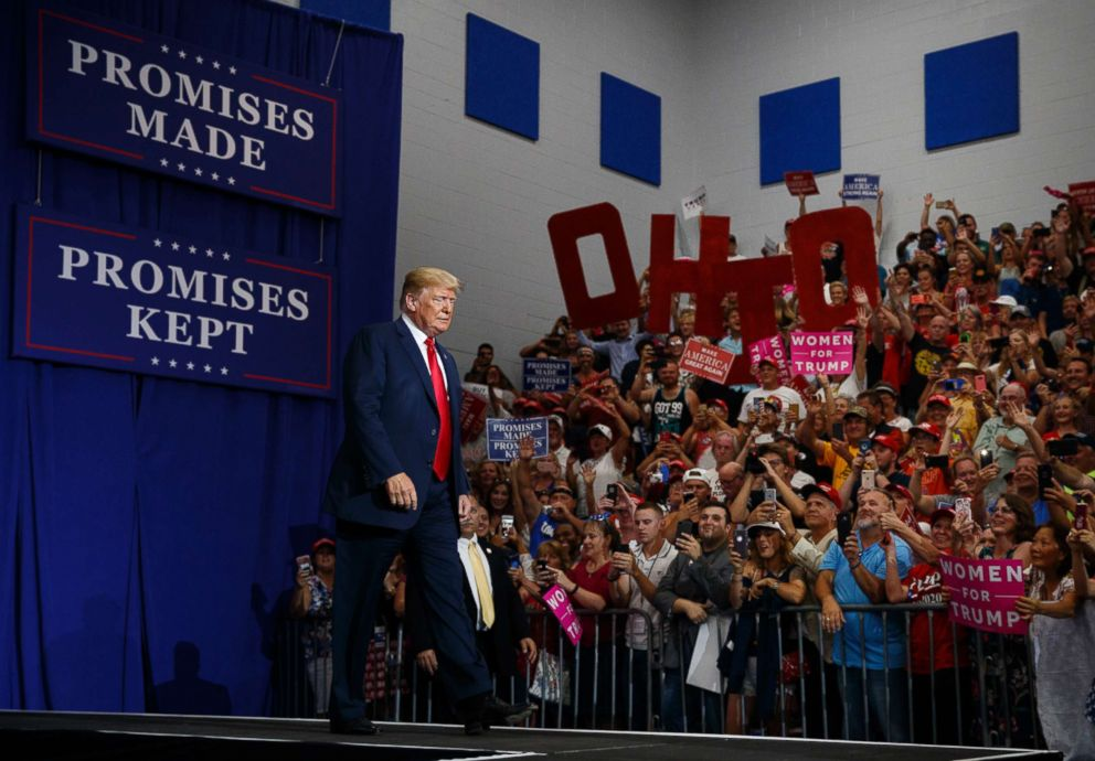 PHOTO: President Donald Trump arrives to speak at a rally at Olentangy Orange High School in Lewis Center, Ohio, Aug. 4, 2018.
