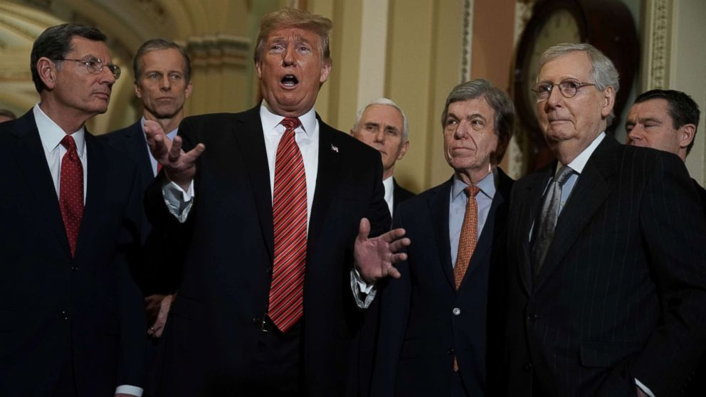 President Donald Trump speaks to members of the media as Sen. John Barrasso, Sen. John Thune, Vice President Mike Pence, Sen. Roy Blunt, Senate Majority Leader Sen. Mitch McConnell and Sen. Todd Young listen at the U.S. Capitol, Jan. 09, 2019 in Washington.