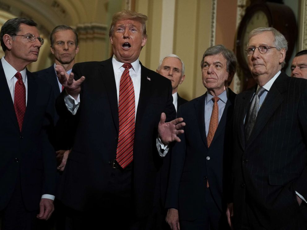PHOTO: President Donald Trump speaks as Sen. John Barrasso, Sen. John Thune, Vice President Mike Pence, Sen. Roy Blunt, Senate Majority Leader Sen. Mitch McConnell and Sen. Todd Young listen at the U.S. Capitol, Jan. 09, 2019 in Washington.