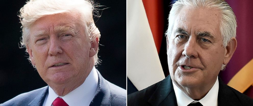 PHOTO: President Donald Trump, left, walks across the south lawn of the White House, Aug. 4, 2017. Rex Tillerson in Bangkok, Aug. 7, 2017.