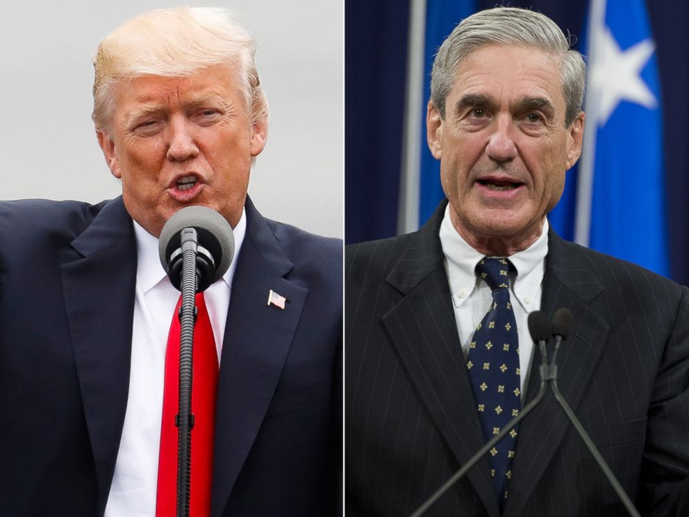 PHOTO: Pictured (L-R) are President Donald Trump in Cincinnati, June 7, 2017 and Robert Mueller in Washington, D.C., Aug. 1, 2013.