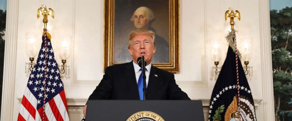 PHOTO: President Donald Trump speaks about the Iran nuclear deal in the Diplomatic Room of the White House, Oct. 13, 2017.