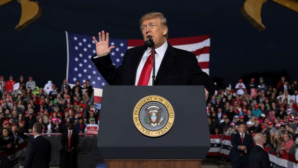 President Donald Trump speaks during a campaign rally with supporters at the Warren County Fairgrounds in Lebanon, Ohio, Oct. 12, 2018.