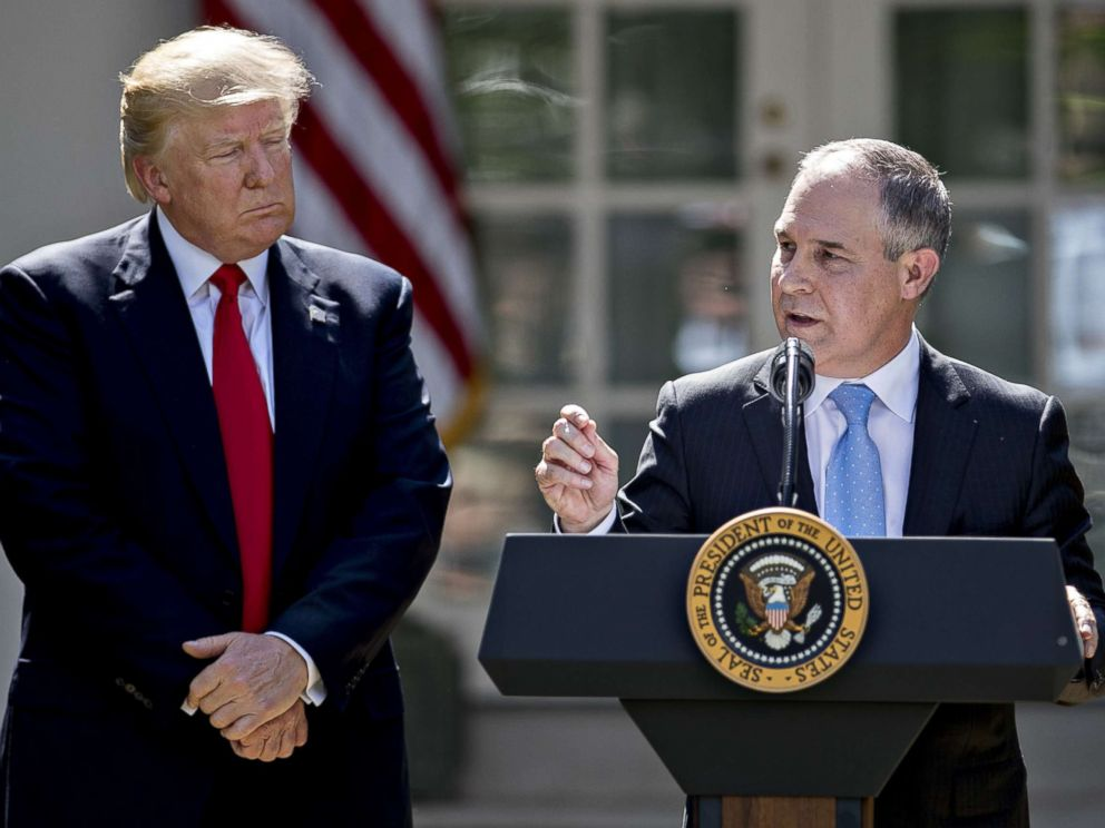 PHOTO: Scott Pruitt, administrator of the Environmental Protection Agency (EPA), speaks as President Donald Trump, left, listens during an announcement in the Rose Garden of the White House in Washington, D.C., June 1, 2017.