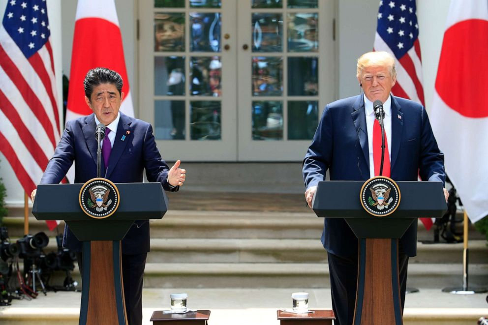 PHOTO: Japanese Prime Minister Shinzo Abe with President Donald Trump speaks during a news conference in the Rose Garden at the White House in Washington, June 7, 2018.