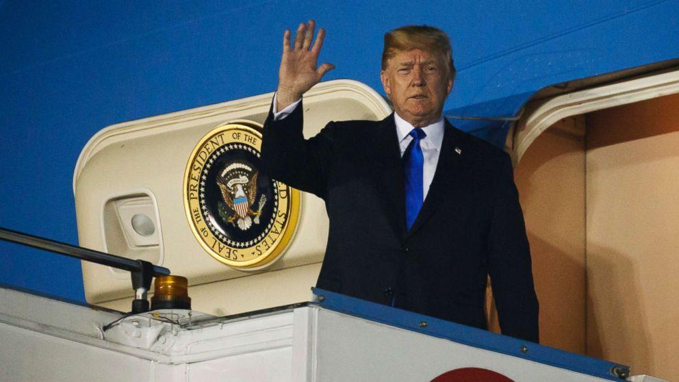 President Donald Trump arrives at Paya Lebar Air Base for a summit with North Korean leader Kim Jong Un, June 10, 2018, in Singapore.
