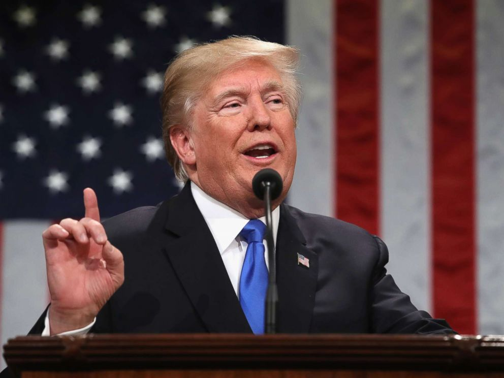 PHOTO: President Donald Trump gestures during the State of the Union address in the chamber of the U.S. House of Representatives in Washington, Jan. 30, 2018.