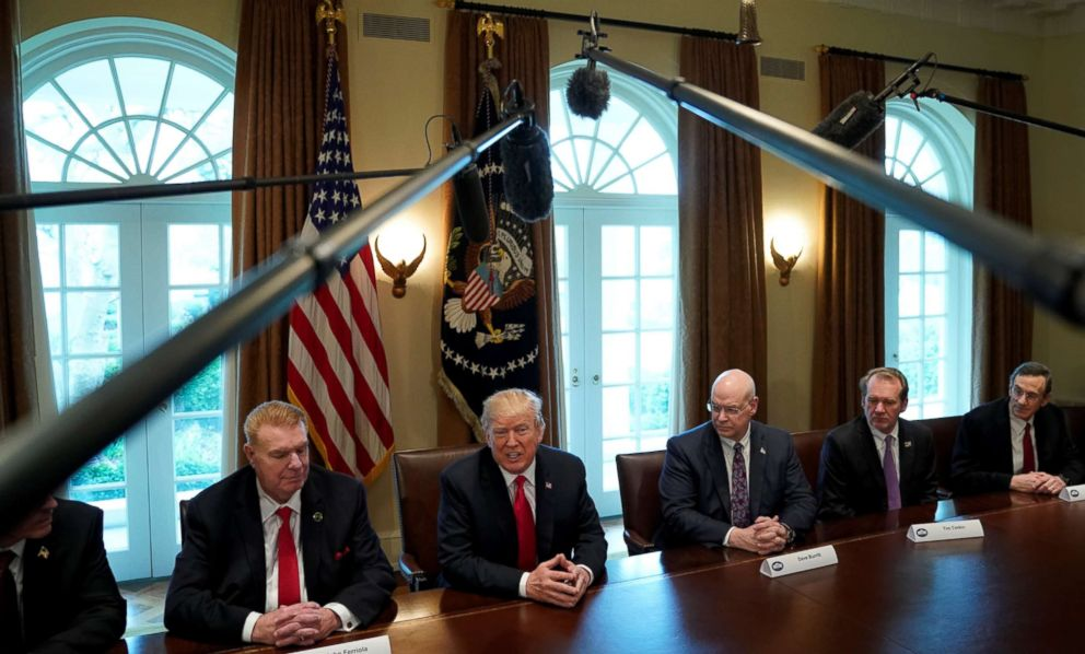 PHOTO: President Donald Trump announces that the U.S. will impose tariffs of 25 percent on steel imports and 10 percent on imported aluminum during a meeting at the White House in Washington, March 1, 2018.