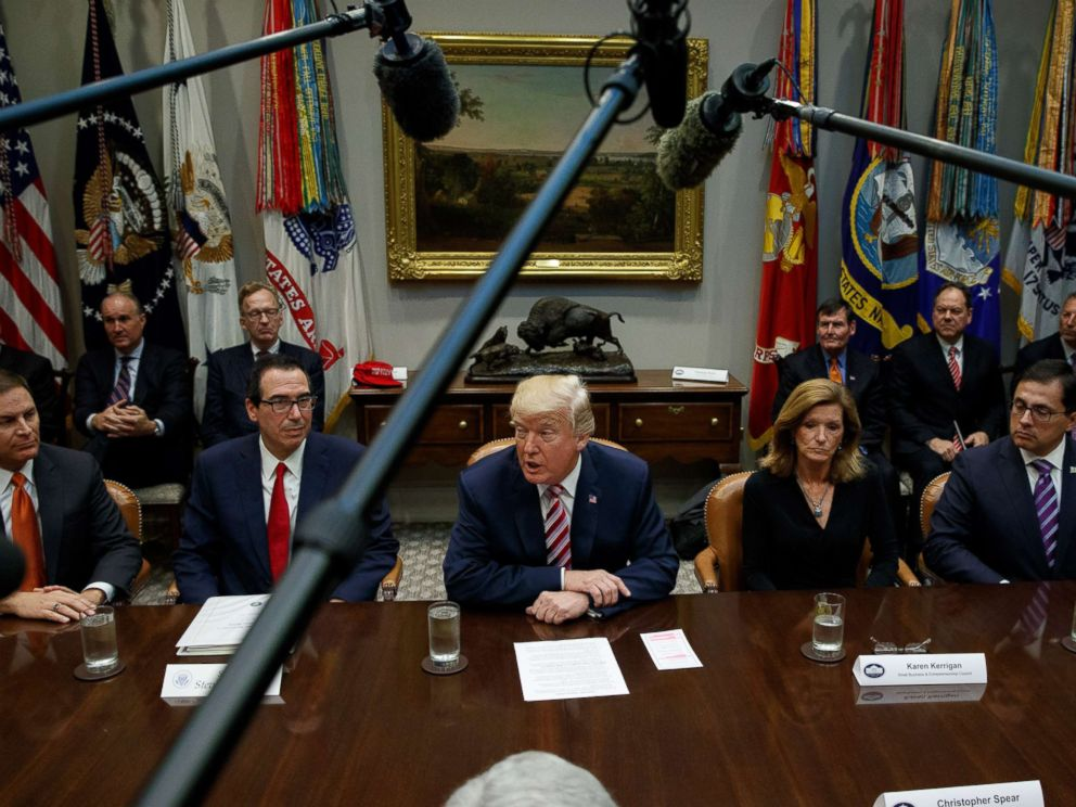 PHOTO: President Donald Trump speaks during a meeting on tax policy with business leaders in the Roosevelt Room of the White House, Oct. 31, 2017, in Washington.