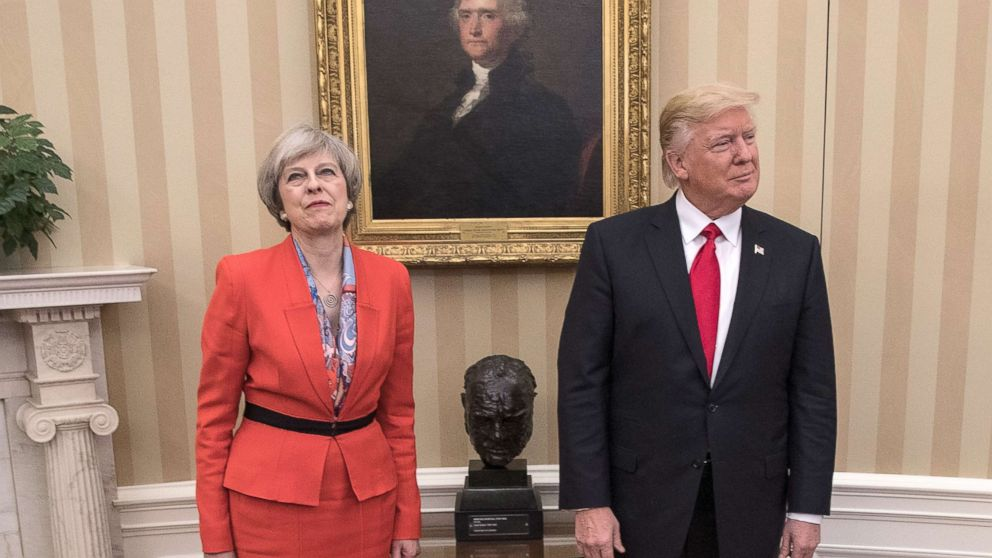 British Prime Minister Theresa May is pictured with President Donald Trump at The White House on Jan. 27, 2017 in Washington.