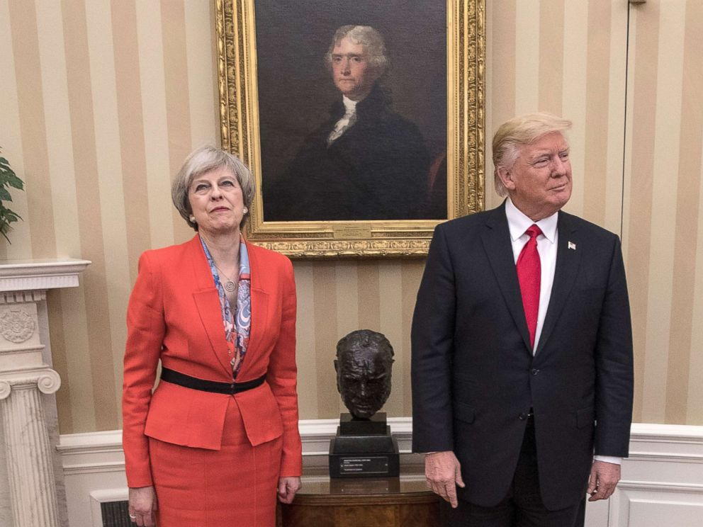 PHOTO: British Prime Minister Theresa May is pictured with President Donald Trump at The White House on Jan. 27, 2017 in Washington.