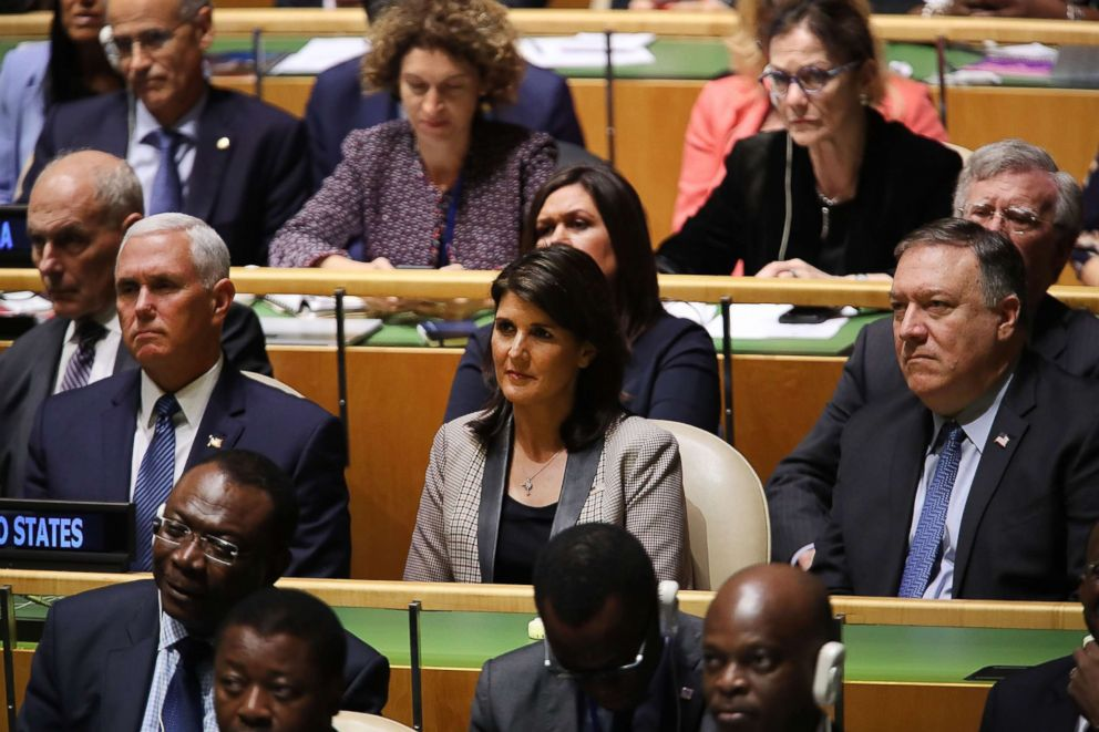 PHOTO: Vice President Mike Pence, United Nations Ambassador Nikki Haley and Secretary of State Mike Pompeo listen as President Donald Trump addresses the United Nations General Assembly in New York on Sept. 25, 2018.