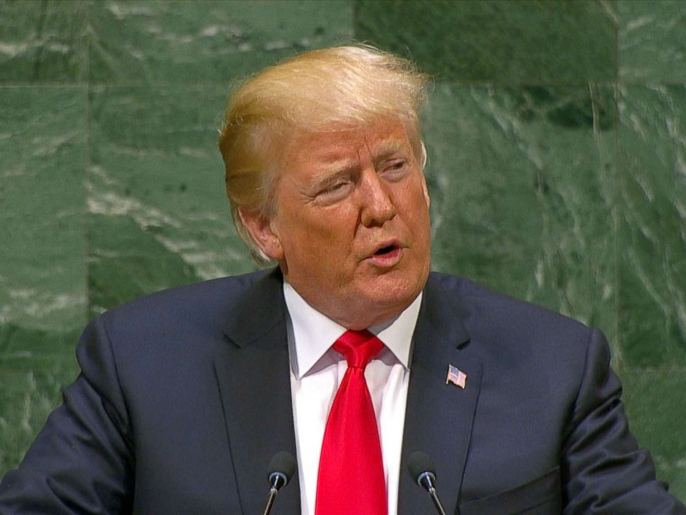 PHOTO: President Donald Trump speaks in front of the United Nations General Assembly in New York, Sept. 25, 2018.