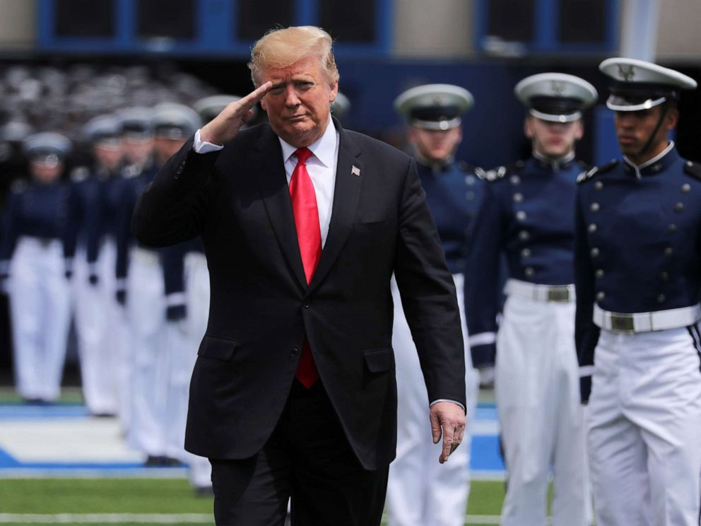 PHOTO: President Donald Trump arrives to deliver the commencement address at the U.S. Air Force Academys graduation ceremony in Colorado Springs, Colo., May 30, 2019.