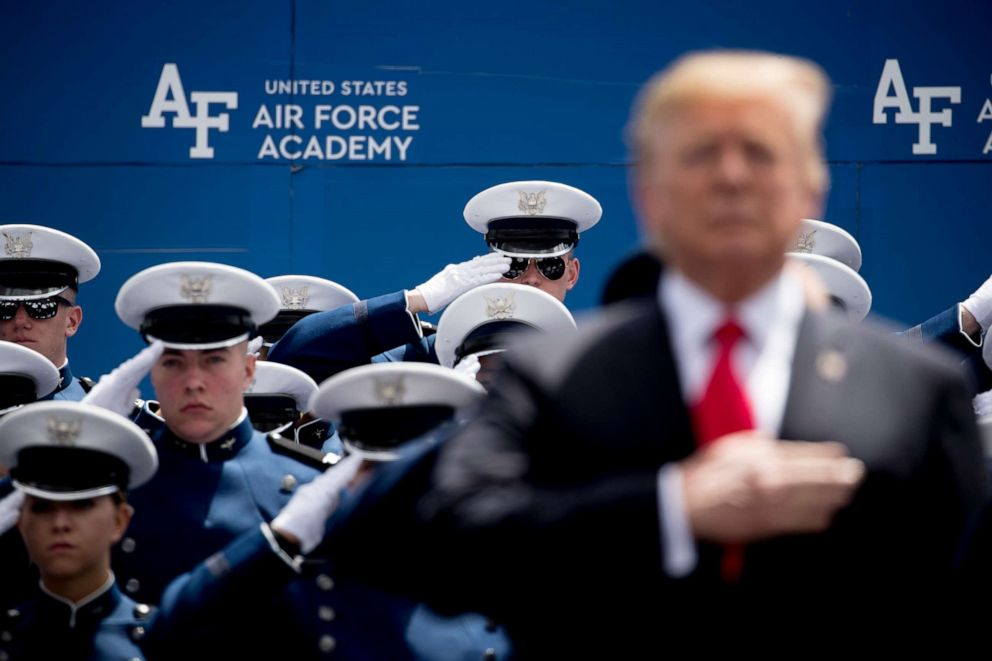 PHOTO: President Donald Trump participates in the 2019 United States Air Force Academy Graduation Ceremony at Falcon Stadium, Thursday, May 30, 2019, at the United States Air Force Academy, in Colorado Springs, Colo.