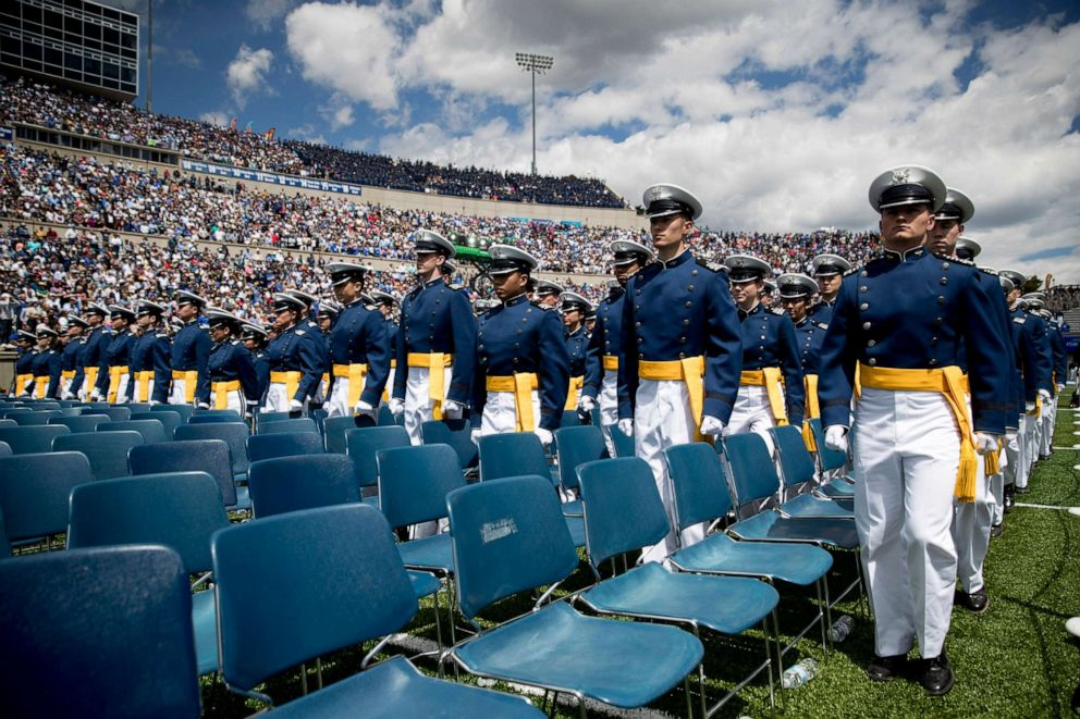 PHOTO: Air Force cadets arrive at the 2019 United States Air Force Academy Graduation Ceremony at Falcon Stadium, Thursday, May 30, 2019, at the United States Air Force Academy, in Colorado Springs, Colo.