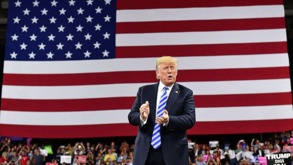 President Donald Trump arrives for a political rally at Charleston Civic Center in Charleston, West Virginia, Aug. 21, 2018.