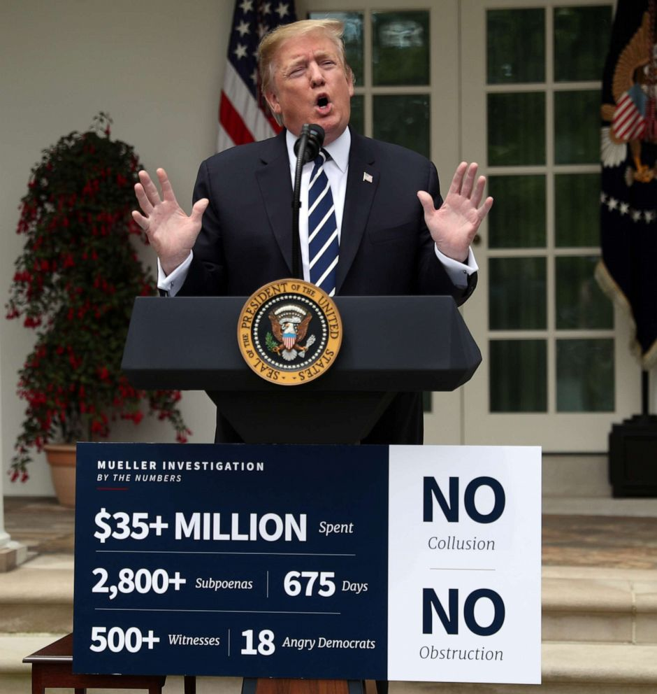 PHOTO: President Donald Trump speaks about the investigations by Special Counsel Robert Mueller and the U.S. Congress into himself and his administration in the Rose Garden at the White House in Washington, May 22, 2019.