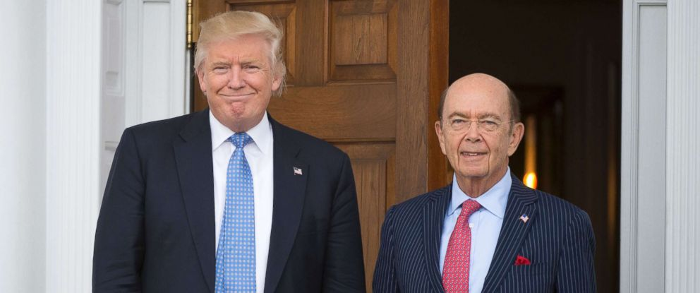 PHOTO: President-elect Donald Trump meets with Wilbur Ross at the clubhouse of Trump National Golf Club, Nov. 20, 2016 in Bedminster, N.J., in this file photo.