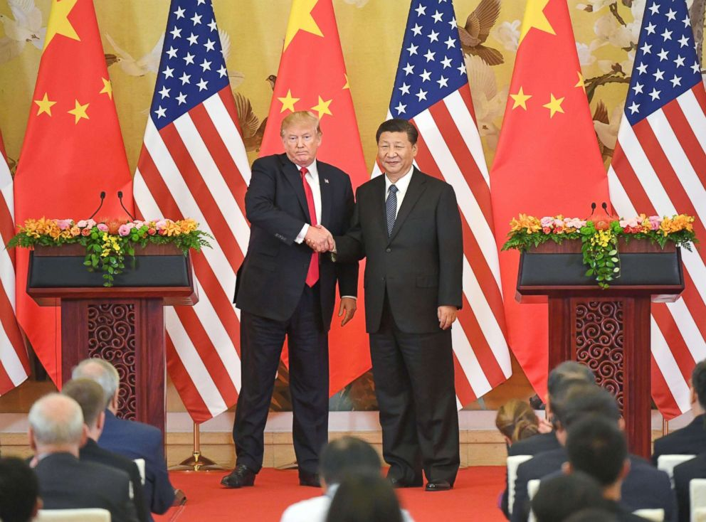 PHOTO: U.S. President Donald Trump and Chinese President Xi Jinping shake hands at a joint news conference held after their meeting in Beijing, Nov. 9, 2017.