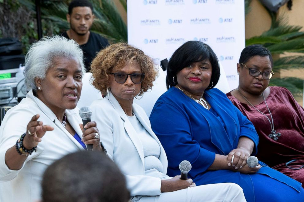 PHOTO: Authors, from left, Donna Brazile, Yolanda Caraway, Minyon Moore and Leah Daughtry speak at For Colored Girls Who Have Considered Politics book signing, Dec. 15, 2018, in Woodland Hills, Cali.