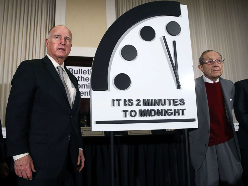 PHOTO: Former California Governor Jerry Brown, (L) and former Secretary of Defense William Perry unveil the Doomsday Clock during The Bulletin of the Atomic Scientists news conference, Jan. 24, 2019, in Washington, D.C.