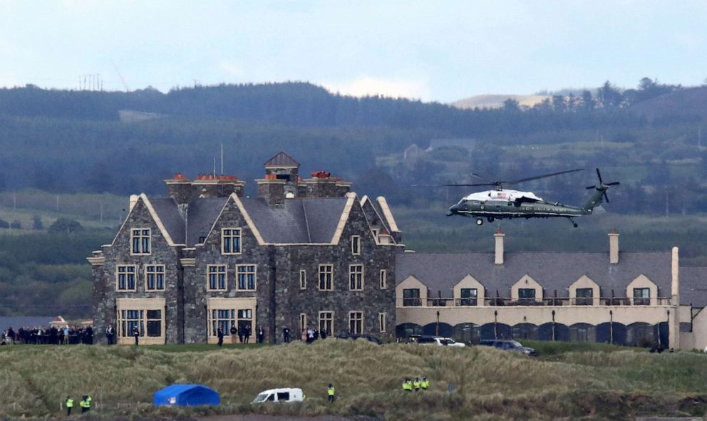 PHOTO: In this file photo taken on June 6, 2019, Marine One, carrying US President Donald Trump and First Lady Melania Trump comes in to land at the Trump International Golf resort near the village of Doonbeg in Ireland.