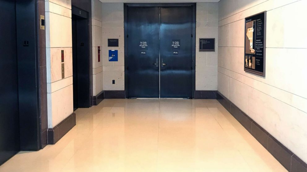A view of the closed doors where senators will review the FBI supplemental report on the Kavanaugh investigation, Oct. 4, 2018, in Washington, D.C.