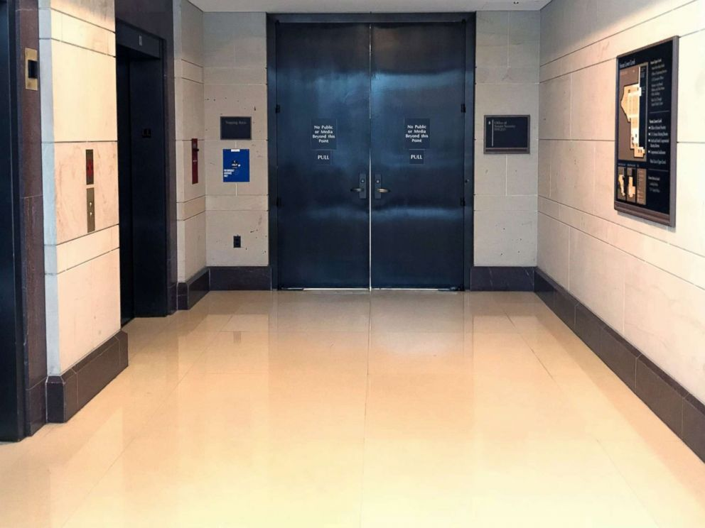 PHOTO: A view of the closed doors where senators will review the FBI supplemental report on the Kavanaugh investigation, Oct. 4, 2018, in Washington, D.C.