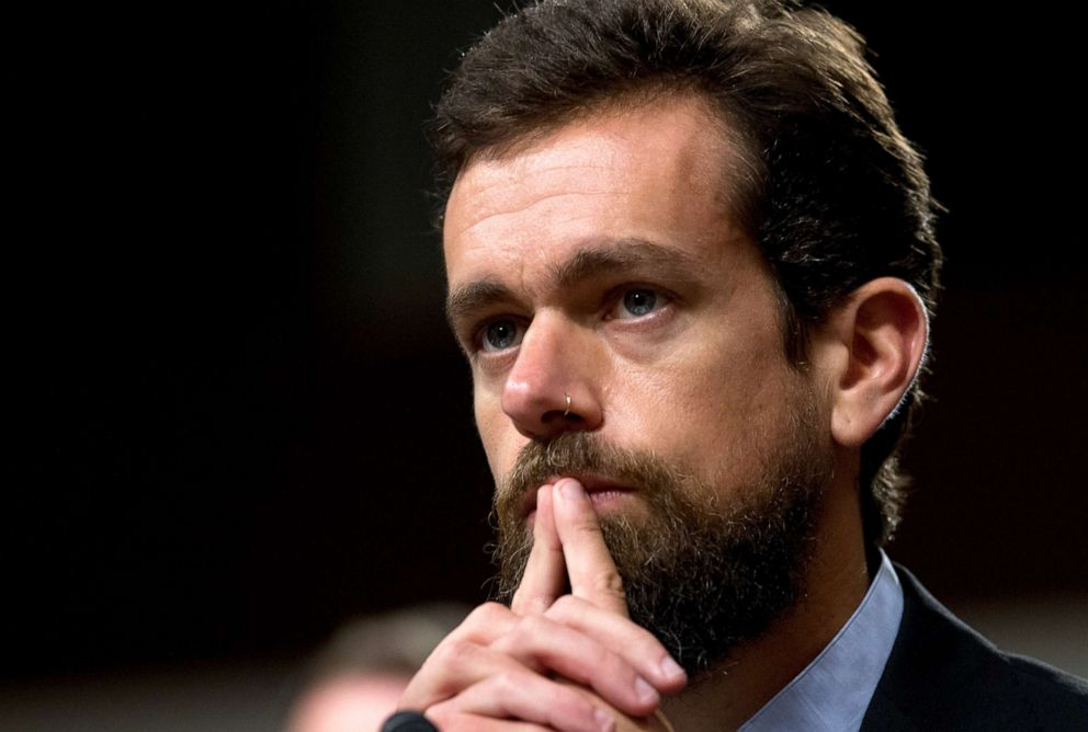 PHOTO: In this Sept. 5, 2018, file photo Twitter CEO Jack Dorsey testifies before the Senate Intelligence Committee hearing on Foreign Influence Operations and Their Use of Social Media Platforms on Capitol Hill in Washington.