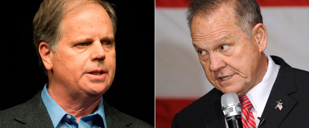 PHOTO: Pictured (L-R) are Democratic senatorial candidate Doug Jones in Birmingham, Ala., Dec. 9, 2017 and Republican senatorial candidate Judge Roy Moore in Fairhope, Ala., Dec. 5, 2017.