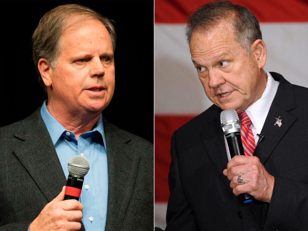 PHOTO: Pictured (L-R) are Democratic senatorial candidate Doug Jones in Birmingham, Ala., Dec. 9, 2017 and Republican senatorial candidate Judge Roy Moore in Fairhope, Ala., Dec. 5, 2017.