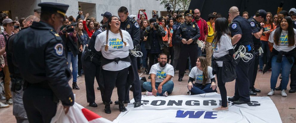 PHOTO: Protesters in support of a clean Dream Act are arrested in the Hart Senate Office Building on Capitol Hill in Washington, Nov. 9, 2017.