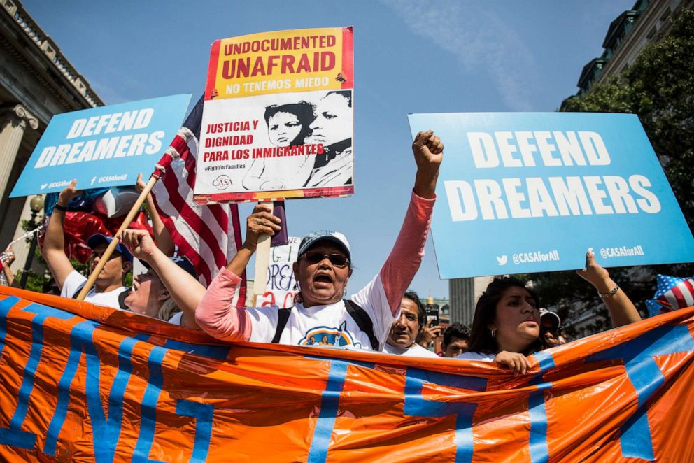 PHOTO: Demonstrators march during a demonstration in response to the Trump Administrations announcement that it would end the Deferred Action for Childhood Arrivals (DACA) program on September 5, 2017 in Washington, DC.