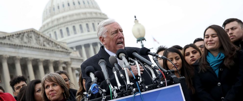 PHOTO: House Minority Whip Steny Hoyer (D-MD) holds a news conference with DREAMers from nearly 20 states outside the U.S. Capitol, Jan. 10, 2018.