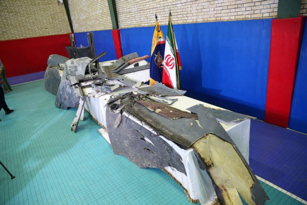 PHOTO: The purported wreckage of the American drone is seen displayed by the Islamic Revolution Guards Corps (IRGC) in Tehran, Iran, June 21, 2019.