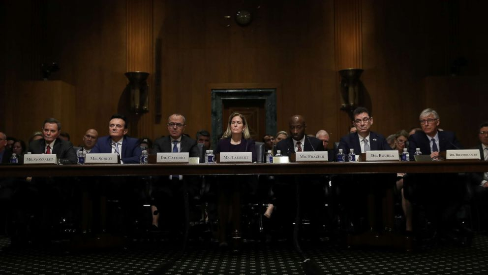 """Chief Executive Officers of pharmaceutical companies testify before the Senate Finance Committee on """"Drug Pricing in America: A Prescription for Change, Part II,"""" Feb. 26, 2019, in Washington D.C."""