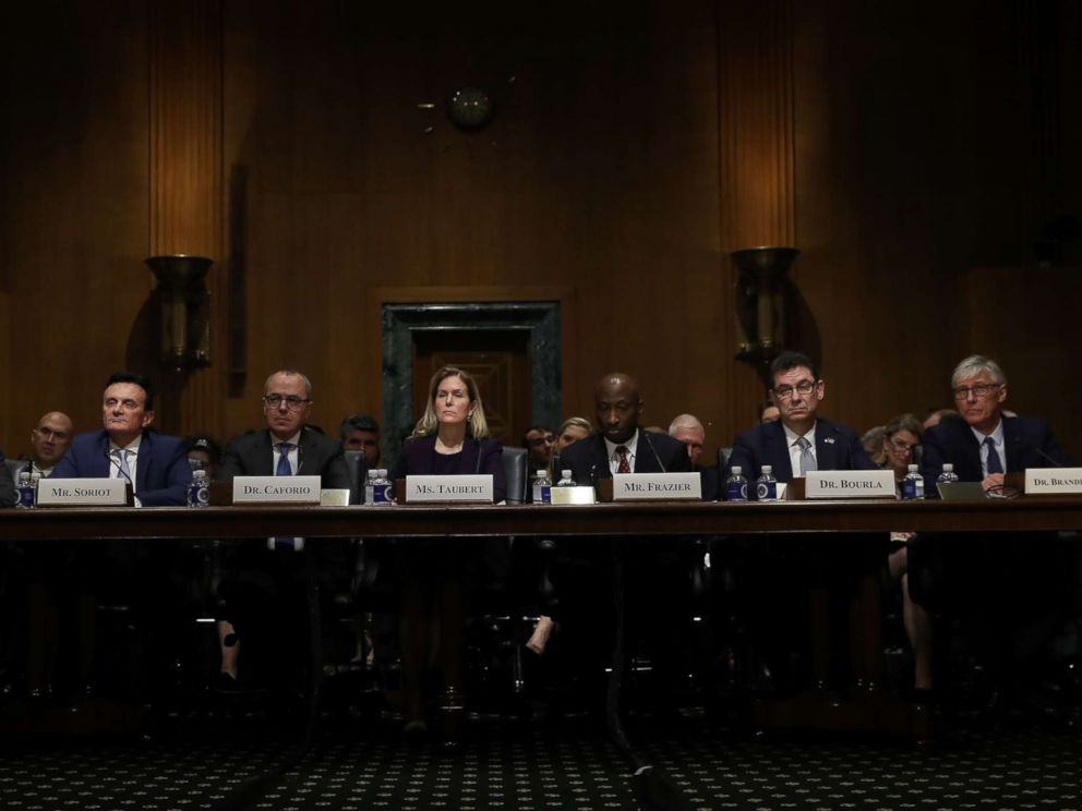 PHOTO: Chief Executive Officers of pharmaceutical companies testify before the Senate Finance Committee on Drug Pricing in America: A Prescription for Change, Part II, Feb. 26, 2019, in Washington D.C.