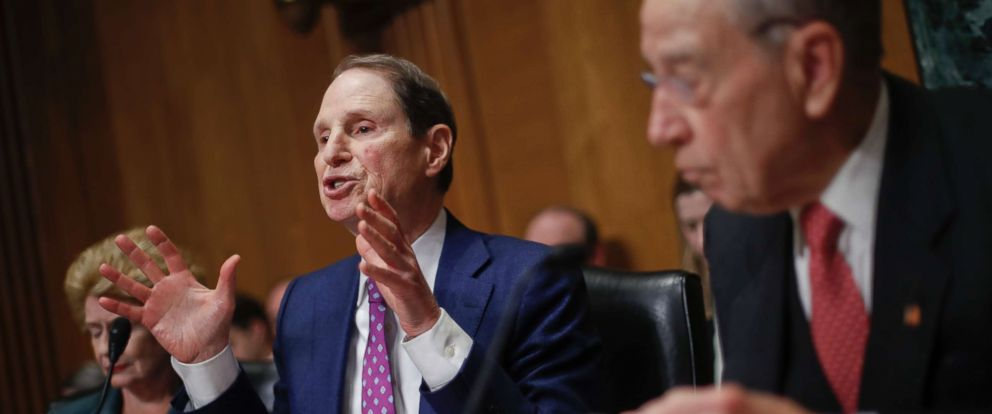 PHOTO: Sen. Ron Wyden, D-Ore., left, gestures while asking questions as Sen. Chuck Grassley, R-Iowa, right, chairman of the Senate Finance Committee, looks on during a hearing with drug company CEOs on drug prices, Feb. 26, 2019, on Capitol Hill.