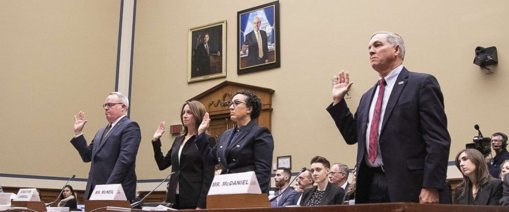 PHOTO: James W. Carroll Jr., Triana McNeil, and Mike McDaniel, are sworn in at a House Oversight and Reform Committee hearing on Capitol Hill, March 7, 2019.