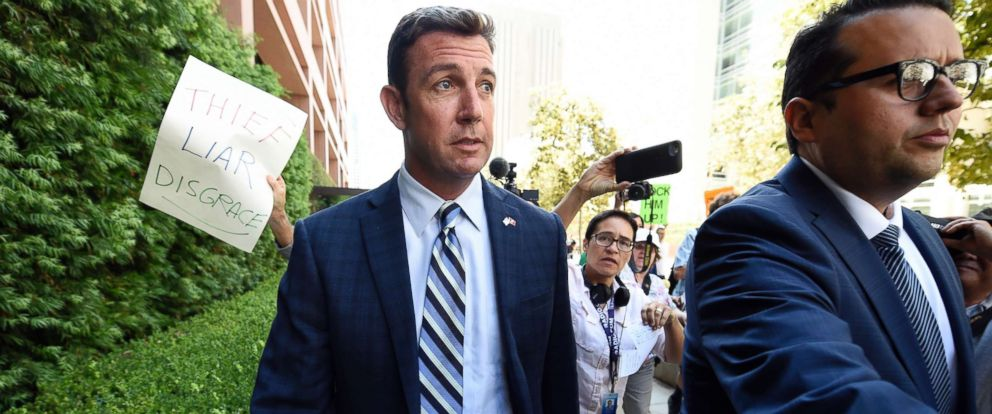 PHOTO: Rep. Duncan Hunter, center, leaves an arraignment hearing, Aug. 23, 2018, in San Diego.