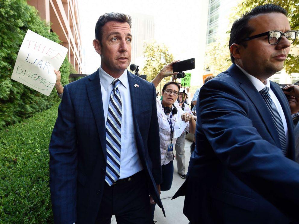 PHOTO: Rep. Duncan Hunter, center, leaves an arraignment hearing, Aug. 23, 2018, in San Diego.
