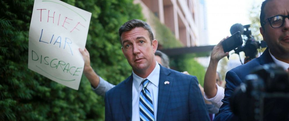 PHOTO: Congressman Duncan Hunter walks out of the San Diego Federal Courthouse after an arraignment hearing on August 23, 2018 in San Diego.