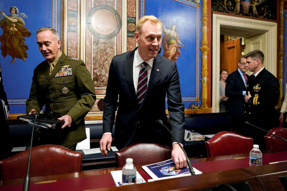 PHOTO: Acting Defense Secretary Patrick Shanahan and Chairman of the Joint Chiefs of Staff General Joseph Dunford arrive to testify before a Senate Appropriations Defense Subcommittee on Capitol Hill in Washington, May 8, 2019.